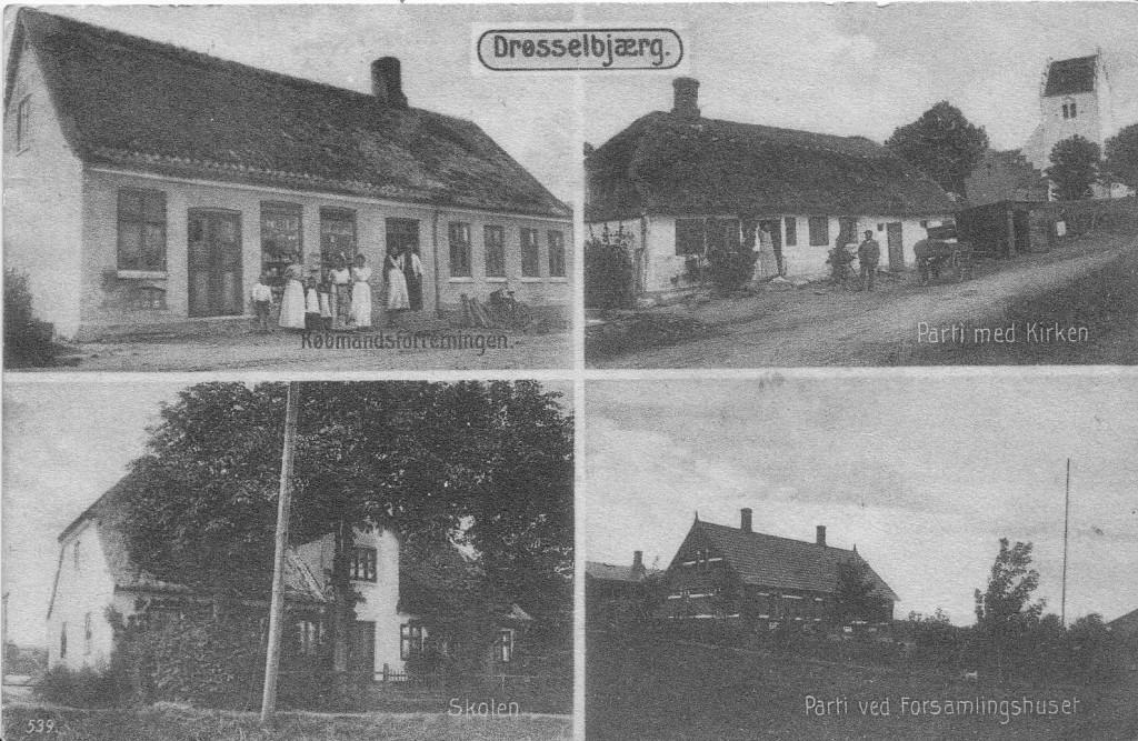 Øverst til venstre: Købmandsforretning, Drøsselbjergvej 16 Øverst til højre: Kirkemarksvej, huset er nedrevet Nederst til højre: Den gamle skole, Drøsselbjergvej 28 Nederst til venstre: Drøsselbjergvej 6